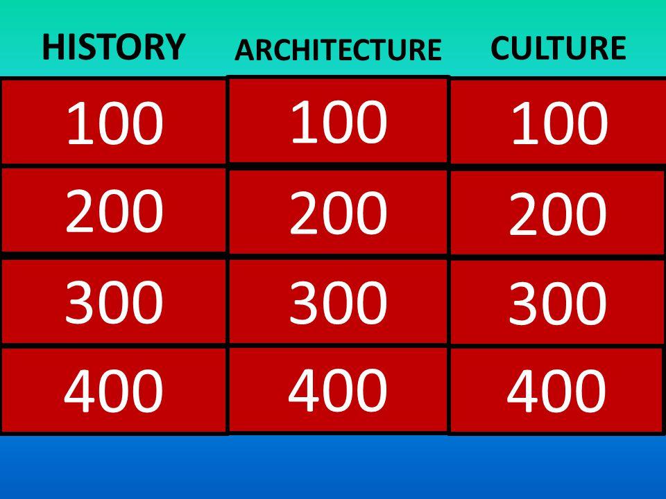100 200 400 300 200 300 400 HISTORY ARCHITECTURE CULTURE