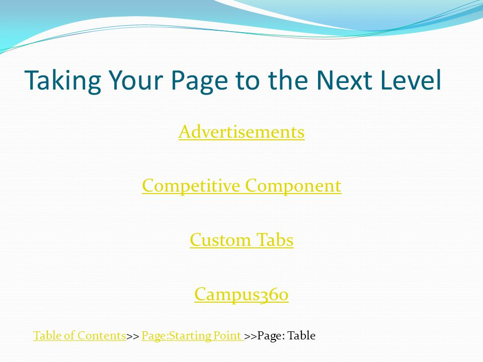 Taking Your Page to the Next Level Advertisements Competitive Component Custom Tabs Campus360 Table of ContentsTable of Contents>> Page:Starting Point >>Page: TablePage:Starting Point