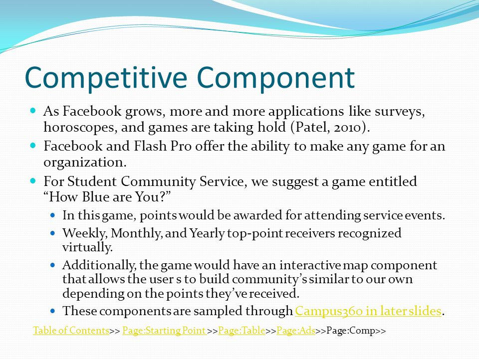 Competitive Component As Facebook grows, more and more applications like surveys, horoscopes, and games are taking hold (Patel, 2010).