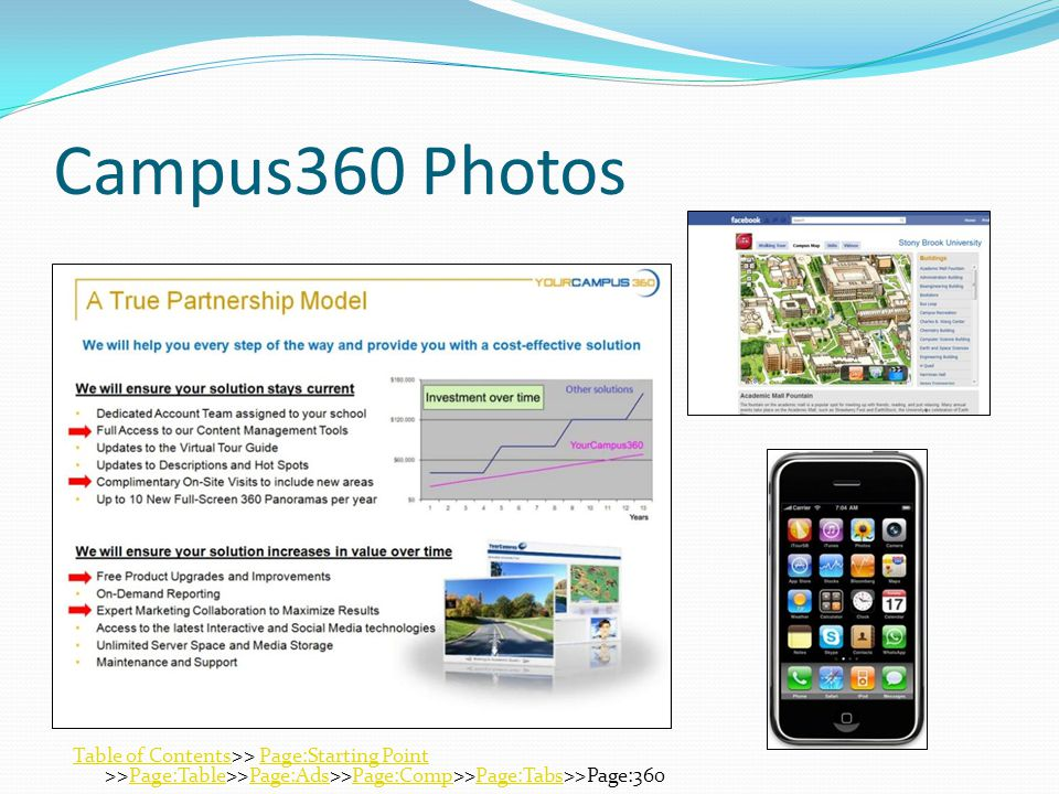 Campus360 Photos Table of ContentsTable of Contents>> Page:Starting Point >>Page:Table>>Page:Ads>>Page:Comp>>Page:Tabs>>Page:360Page:Starting PointPage:TablePage:AdsPage:CompPage:Tabs