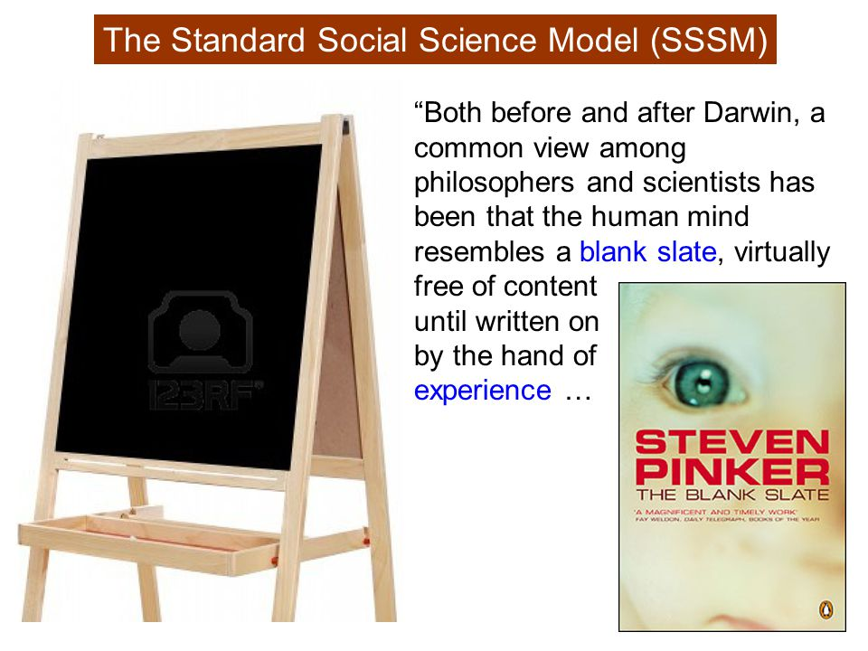 The Standard Social Science Model (SSSM) Both before and after Darwin, a common view among philosophers and scientists has been that the human mind resembles a blank slate, virtually free of content until written on by the hand of experience …