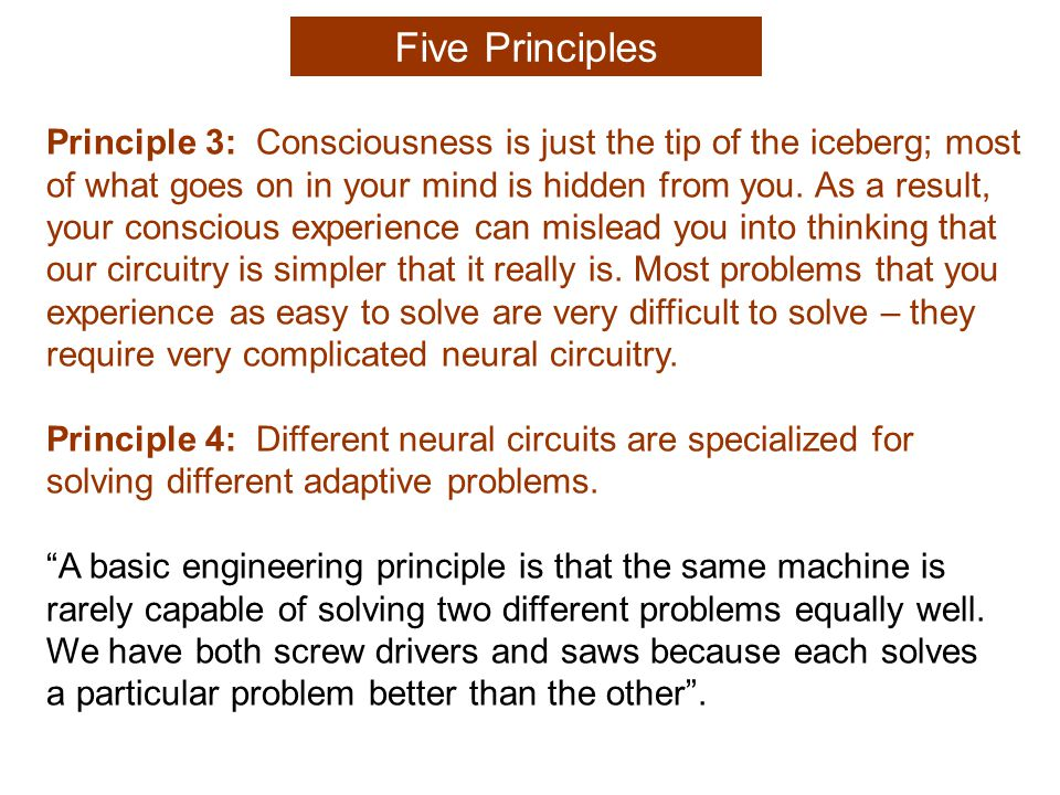 Principle 3: Consciousness is just the tip of the iceberg; most of what goes on in your mind is hidden from you.