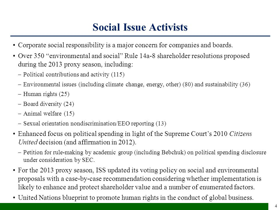"Social Issue Activists Corporate social responsibility is a major concern for companies and boards. Over 350 ""environmental and social"" Rule 14a-8 sha"