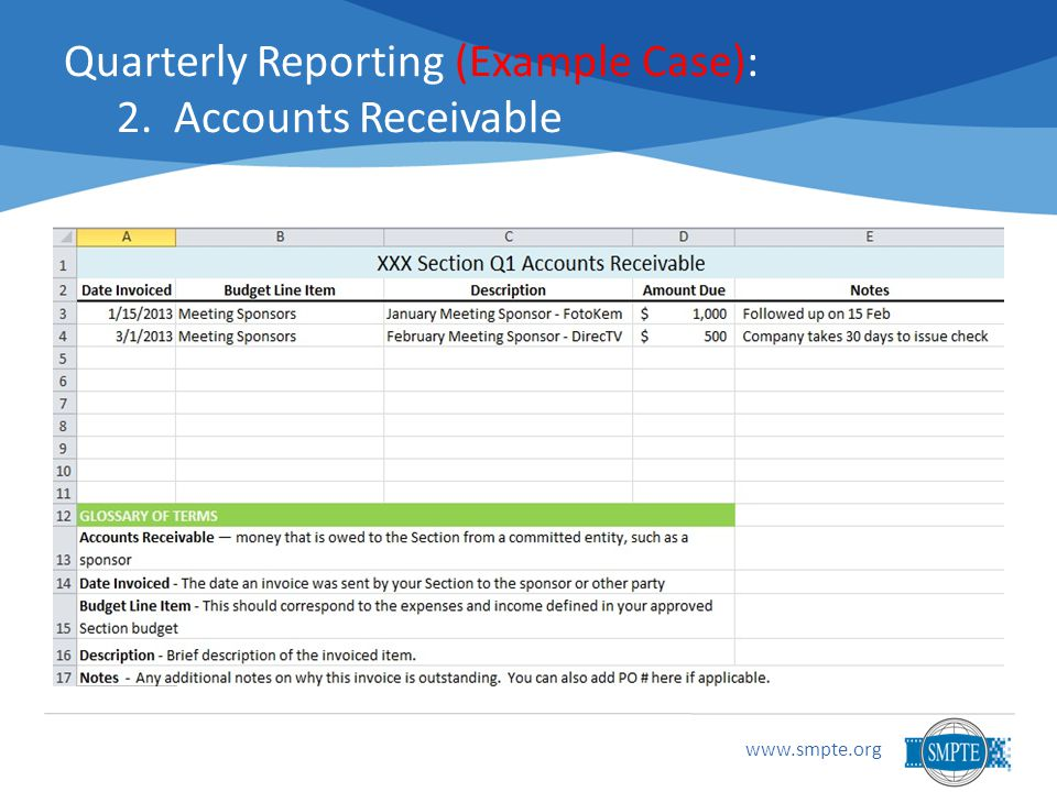 www.smpte.org Quarterly Reporting (Example Case): 2. Accounts Receivable