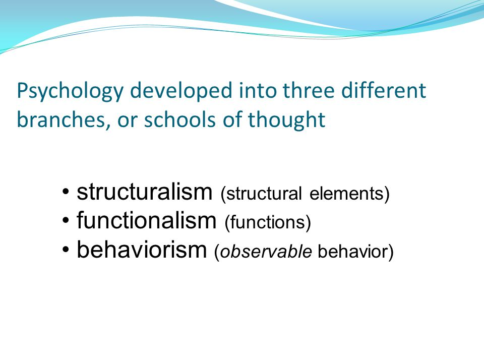 Psychology developed into three different branches, or schools of thought structuralism (structural elements) functionalism (functions) behaviorism (observable behavior)
