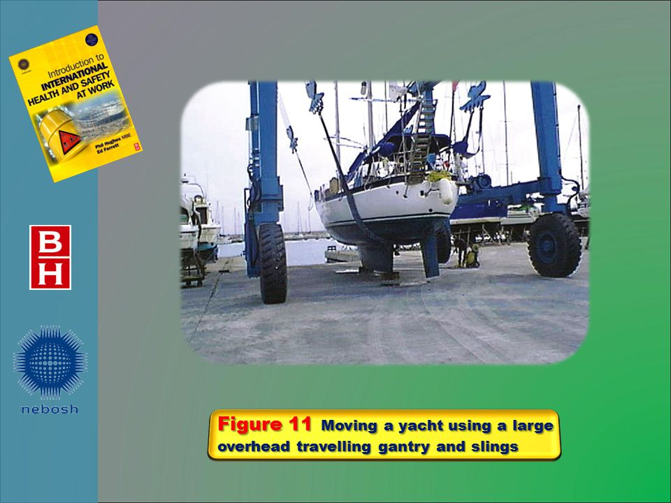 Figure 11 Moving a yacht using a large overhead travelling gantry and slings