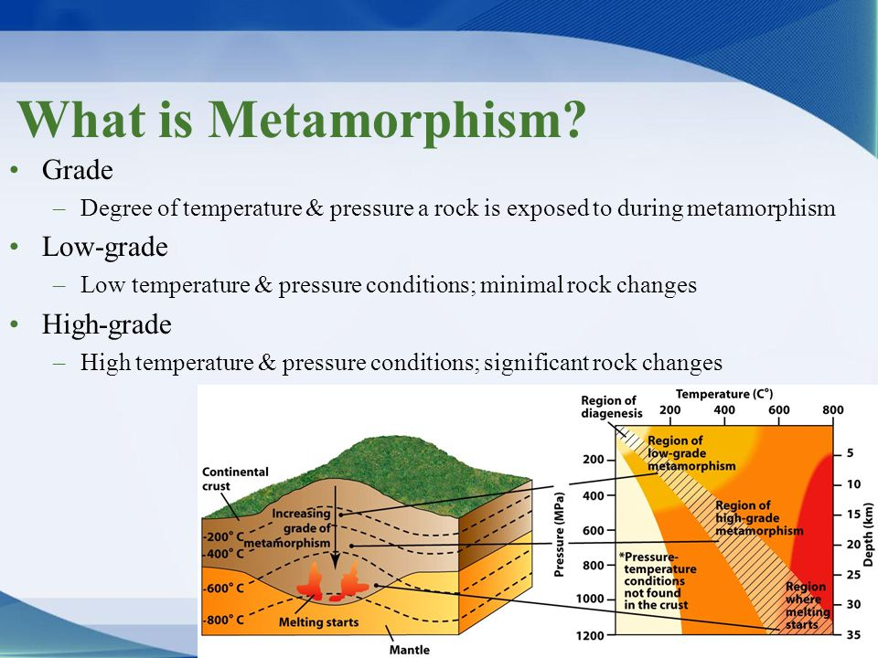 Grade –Degree of temperature & pressure a rock is exposed to during metamorphism Low-grade –Low temperature & pressure conditions; minimal rock change