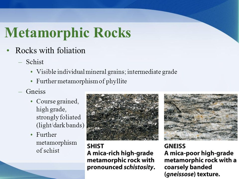 Metamorphic Rocks Rocks with foliation –Schist Visible individual mineral grains; intermediate grade Further metamorphism of phyllite –Gneiss Course g