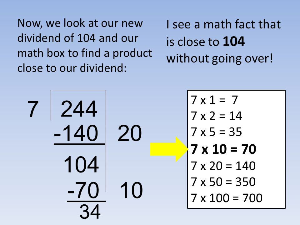 Now, we look at our new dividend of 104 and our math box to find a product close to our dividend: 244 7 I see a math fact that is close to 104 without going over.