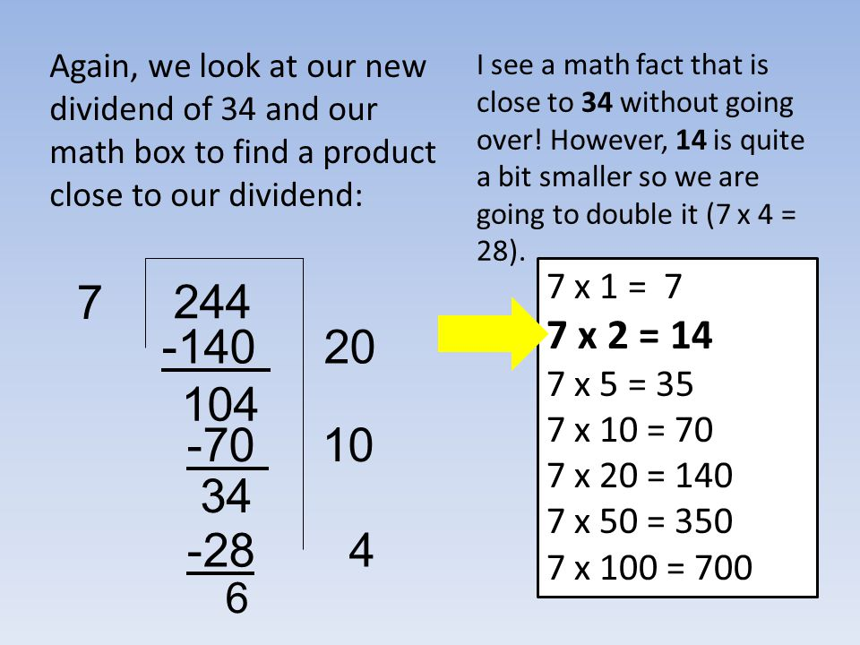Again, we look at our new dividend of 34 and our math box to find a product close to our dividend: 244 7 I see a math fact that is close to 34 without going over.