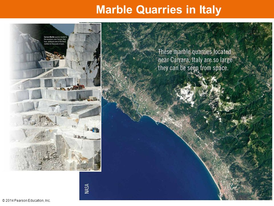 © 2014 Pearson Education, Inc. Marble Quarries in Italy