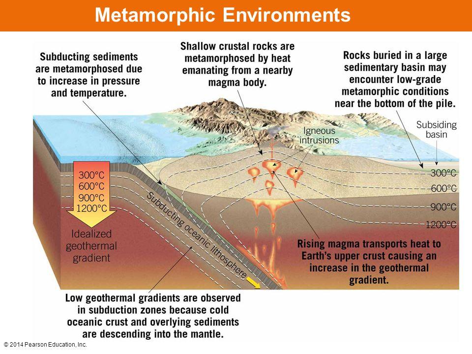 © 2014 Pearson Education, Inc. Hydrothermal Metamorphism Along a Mid-Ocean Ridge