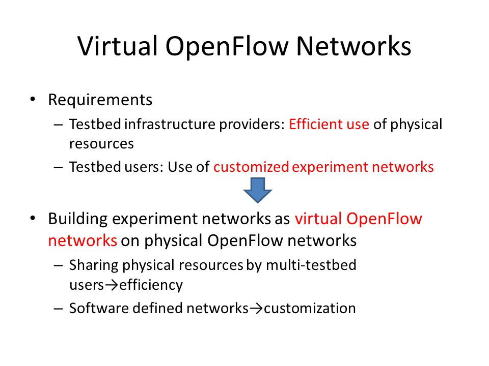 Virtual OpenFlow Networks Requirements – Testbed infrastructure providers: Efficient use of physical resources – Testbed users: Use of customized experiment networks Building experiment networks as virtual OpenFlow networks on physical OpenFlow networks – Sharing physical resources by multi-testbed users→efficiency – Software defined networks→customization