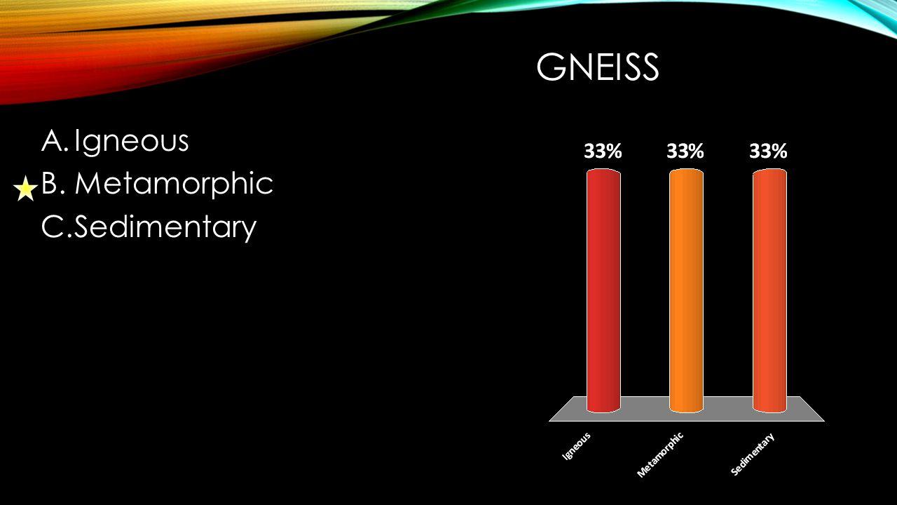 GNEISS A.Igneous B.Metamorphic C.Sedimentary