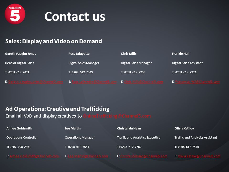 Contact us Sales: Display and Video on Demand Ad Operations: Creative and Trafficking Email all VoD and display creatives to OnlineTrafficking@Channel5.com Aimee GoldsmithLee MartinChristel de HaanOlivia Katilov Operations ControllerOperations ManagerTraffic and Analytics ExecutiveTraffic and Analytics Assistant T: 0207 098 2861T: 0208 612 7544T: 0208 612 7782T: 0208 612 7546 E: Aimee.Goldsmith@Channel5.comE: Lee.Martin@Channel5.comE: Christel.deHaan@Channel5.comE: Olivia.Katilov@Channel5.com Gareth Vaughn JonesRoss LafayetteChris MillsFrankie Hall Head of Digital SalesDigital Sales Manager Digital Sales Assistant T: 0208 612 7021T: 0208 612 7503T: 0208 612 7298T: 0208 612 7924 E: Gareth.Vaughn.Jones@Channel5.comE: Ross.Lafayette@Channel5.comE: Chris.Mills@Channel5.comE: Francesca.Hall@Channel5.com