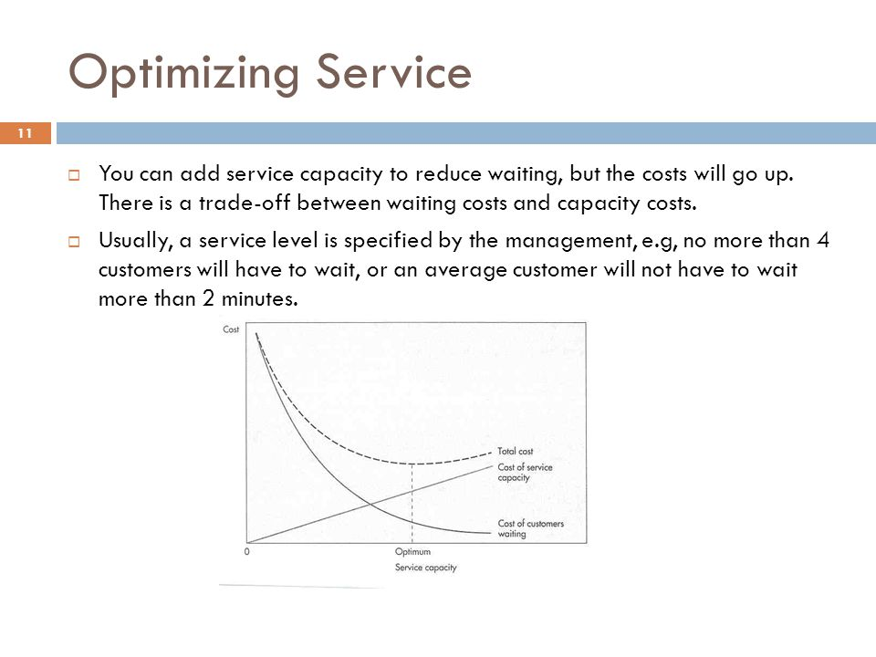 Optimizing Service  You can add service capacity to reduce waiting, but the costs will go up.