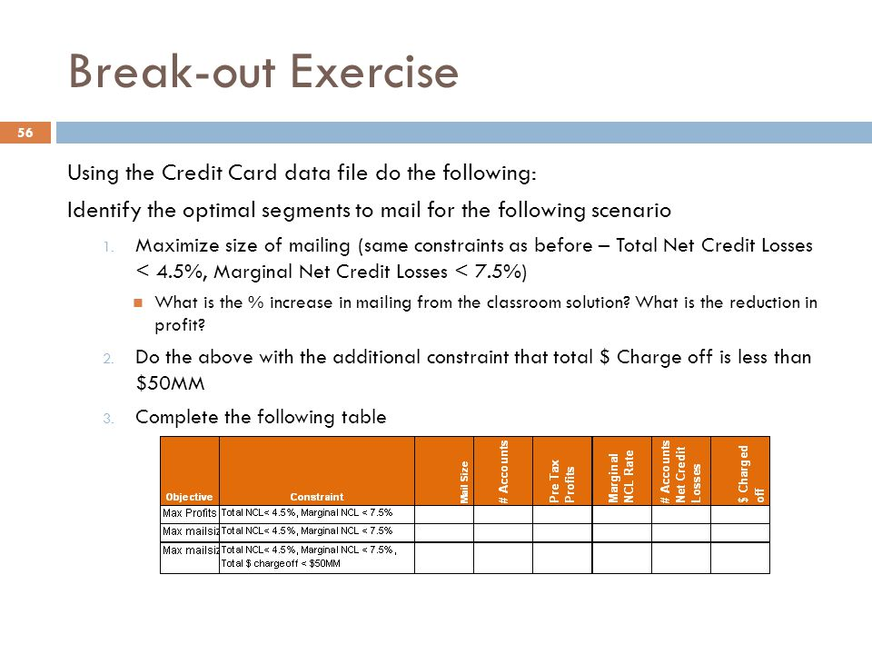 Break-out Exercise Using the Credit Card data file do the following: Identify the optimal segments to mail for the following scenario 1. Maximize size
