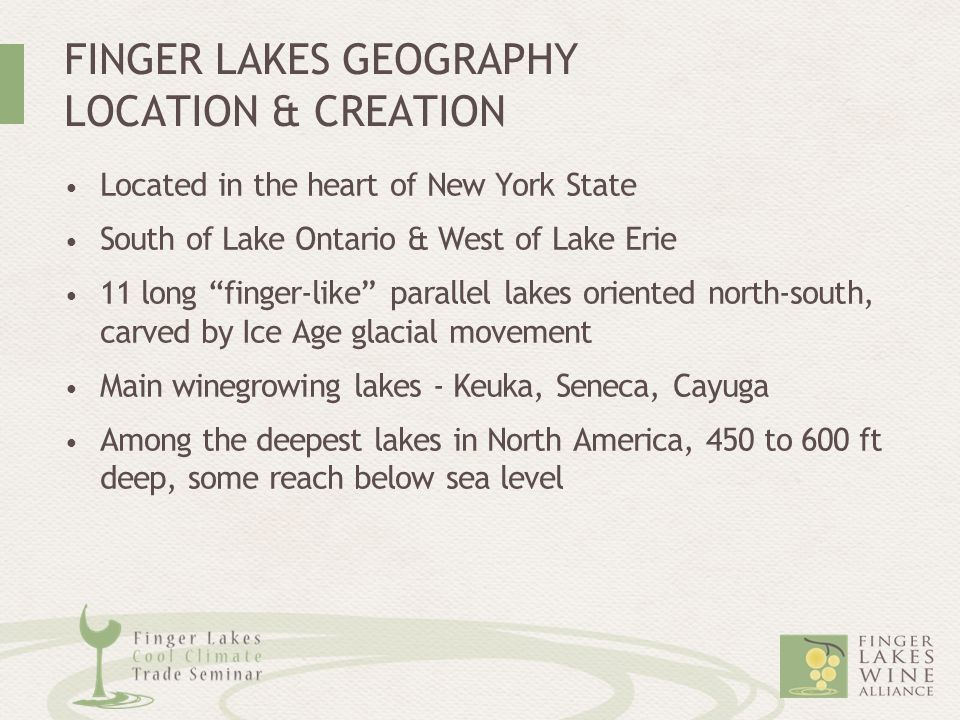 """FINGER LAKES GEOGRAPHY LOCATION & CREATION Located in the heart of New York State South of Lake Ontario & West of Lake Erie 11 long """"finger-like"""" para"""
