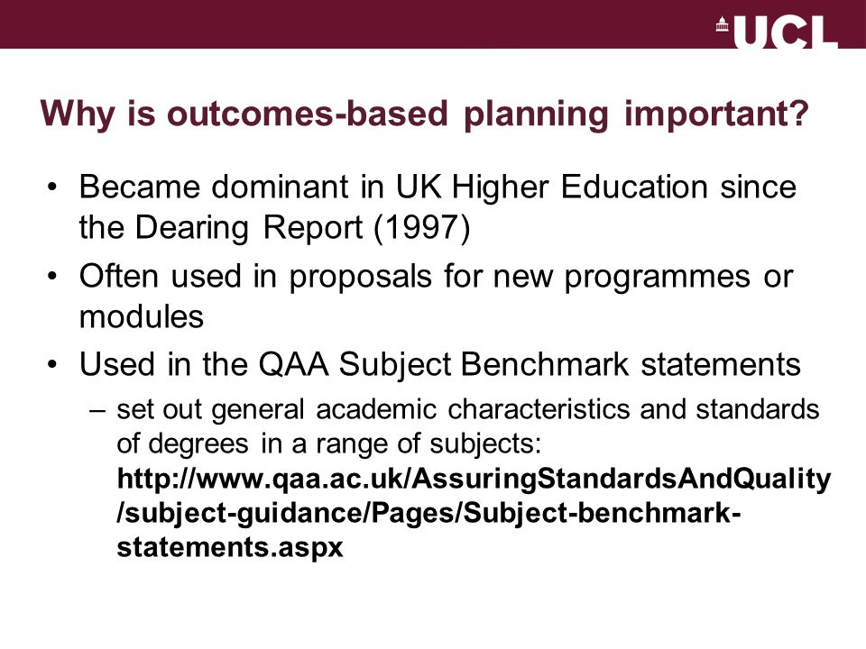 Why is outcomes-based planning important.