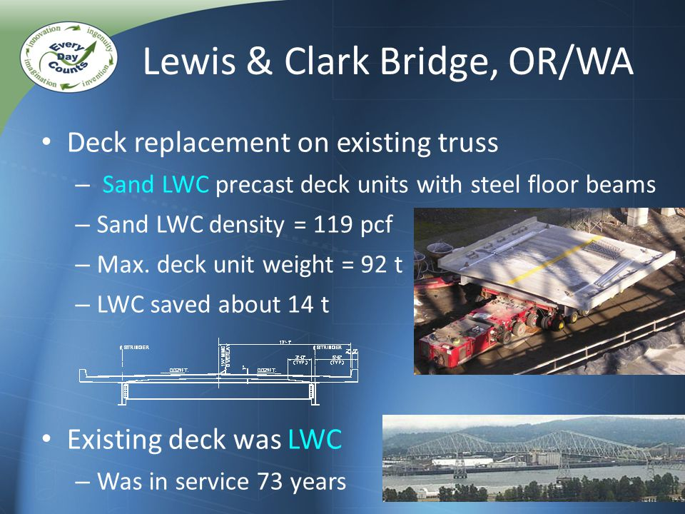 Deck replacement on existing truss – Sand LWC precast deck units with steel floor beams – Sand LWC density = 119 pcf – Max.