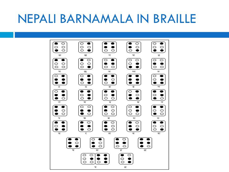 NEPALI BARNAMALA IN BRAILLE