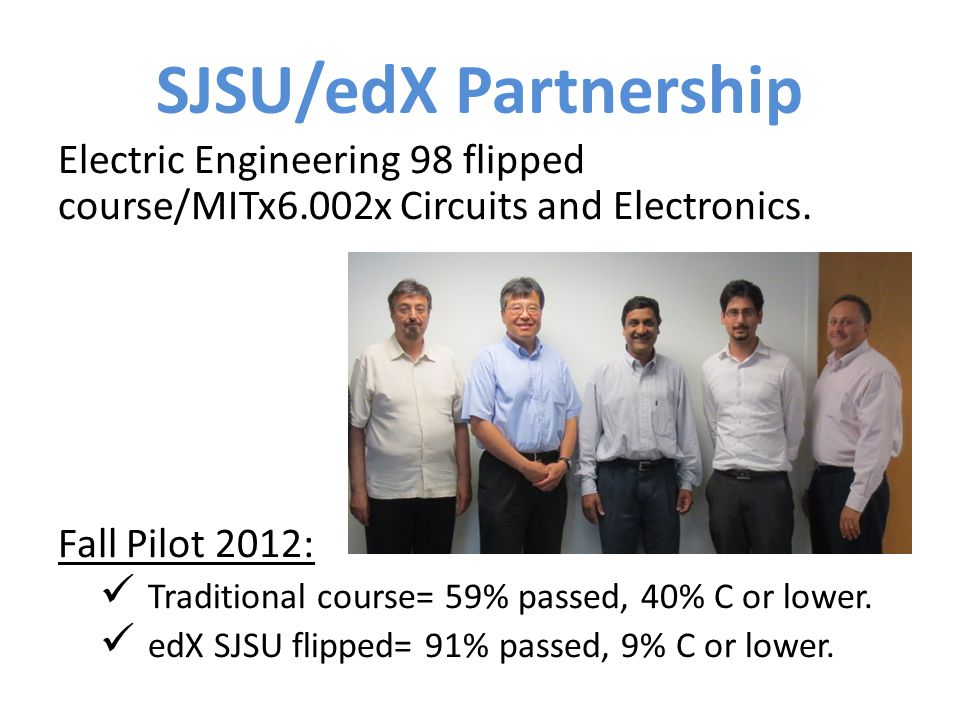 SJSU/edX Partnership Electric Engineering 98 flipped course/MITx6.002x Circuits and Electronics. Fall Pilot 2012: Traditional course= 59% passed, 40%