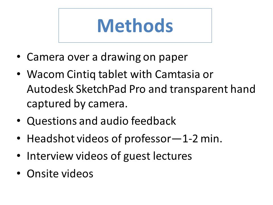 Methods Camera over a drawing on paper Wacom Cintiq tablet with Camtasia or Autodesk SketchPad Pro and transparent hand captured by camera.