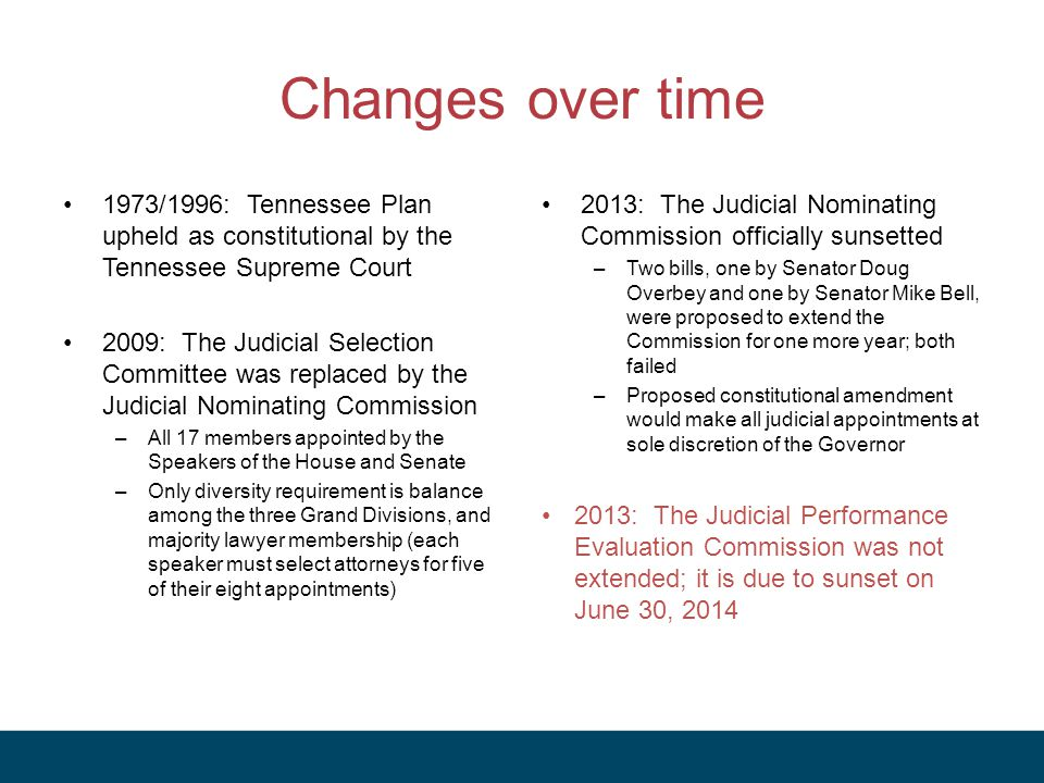 Changes over time 1973/1996: Tennessee Plan upheld as constitutional by the Tennessee Supreme Court 2009: The Judicial Selection Committee was replaced by the Judicial Nominating Commission –All 17 members appointed by the Speakers of the House and Senate –Only diversity requirement is balance among the three Grand Divisions, and majority lawyer membership (each speaker must select attorneys for five of their eight appointments) 2013: The Judicial Nominating Commission officially sunsetted –Two bills, one by Senator Doug Overbey and one by Senator Mike Bell, were proposed to extend the Commission for one more year; both failed –Proposed constitutional amendment would make all judicial appointments at sole discretion of the Governor 2013: The Judicial Performance Evaluation Commission was not extended; it is due to sunset on June 30, 2014