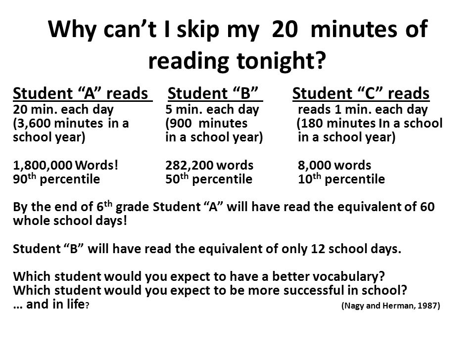 Why can't I skip my 20 minutes of reading tonight.