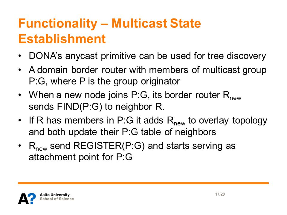 Functionality – Multicast State Establishment DONA's anycast primitive can be used for tree discovery A domain border router with members of multicast group P:G, where P is the group originator When a new node joins P:G, its border router R new sends FIND(P:G) to neighbor R.