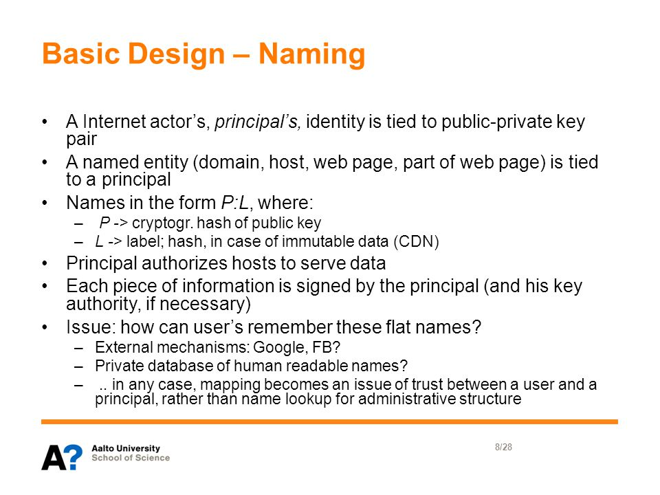 Basic Design – Naming A Internet actor's, principal's, identity is tied to public-private key pair A named entity (domain, host, web page, part of web page) is tied to a principal Names in the form P:L, where: – P -> cryptogr.