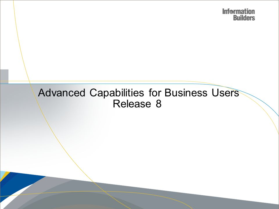 Advanced Capabilities for Business Users Release 8 Copyright 2007, Information Builders. Slide 23