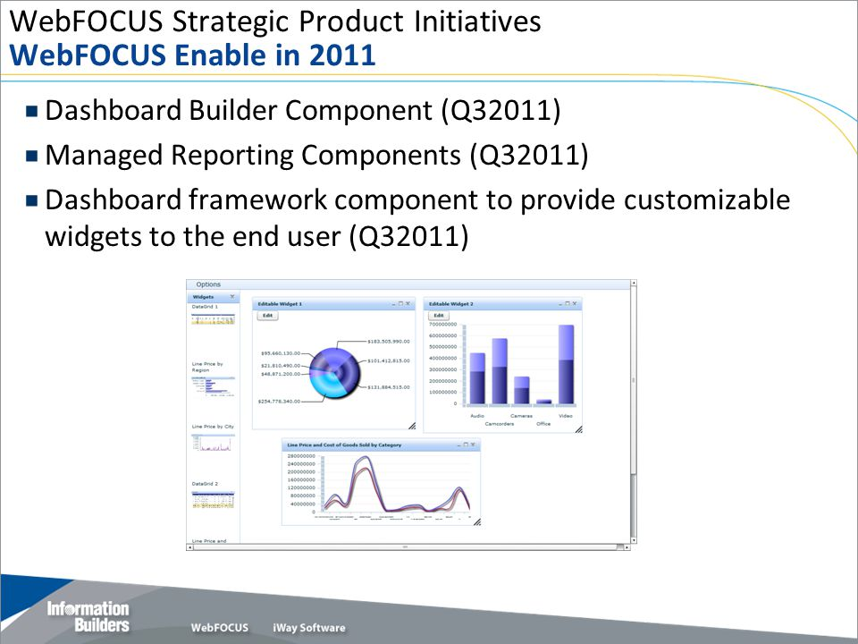 WebFOCUS Strategic Product Initiatives WebFOCUS Enable in 2011  Dashboard Builder Component (Q32011)  Managed Reporting Components (Q32011)  Dashboard framework component to provide customizable widgets to the end user (Q32011) Copyright 2009, Information Builders.
