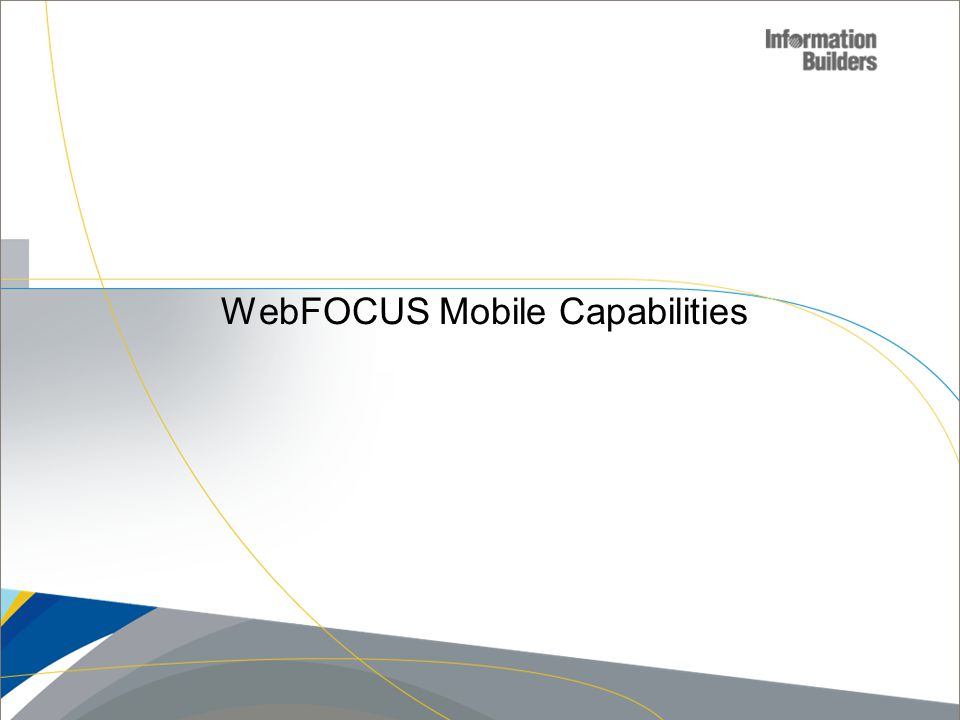 WebFOCUS Mobile Capabilities Copyright 2010, Information Builders. Slide 8