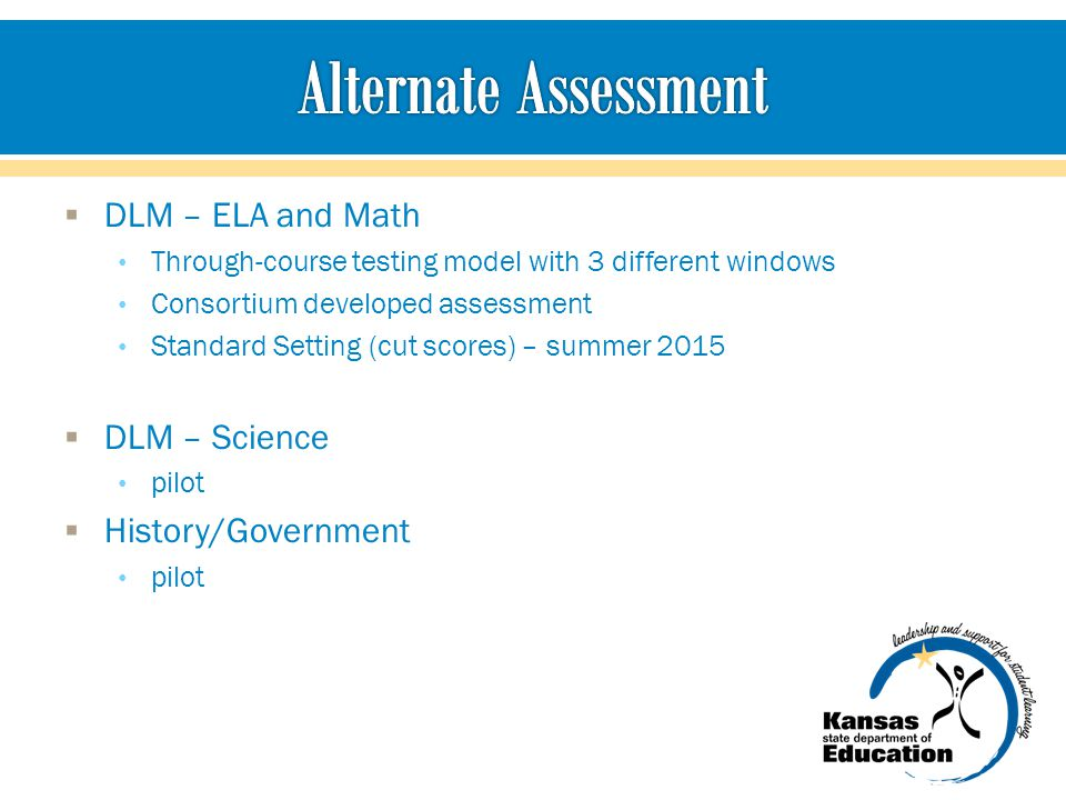 DLM – ELA and Math Through-course testing model with 3 different windows Consortium developed assessment Standard Setting (cut scores) – summer 2015  DLM – Science pilot  History/Government pilot