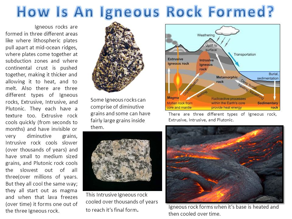 Igneous rocks are formed in three different areas like where lithospheric plates pull apart at mid-ocean ridges, where plates come together at subduction zones and where continental crust is pushed together, making it thicker and allowing it to heat, and to melt.