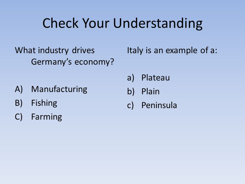 Check Your Understanding What industry drives Germany's economy.