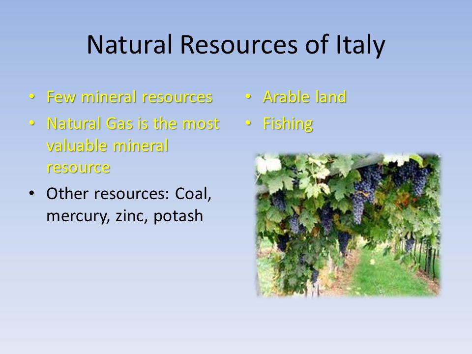 Natural Resources of Italy Few mineral resources Few mineral resources Natural Gas is the most valuable mineral resource Natural Gas is the most valuable mineral resource Other resources: Coal, mercury, zinc, potash Arable land Arable land Fishing Fishing