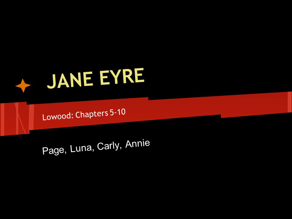 JANE EYRE Lowood: Chapters 5-10 Page, Luna, Carly, Annie