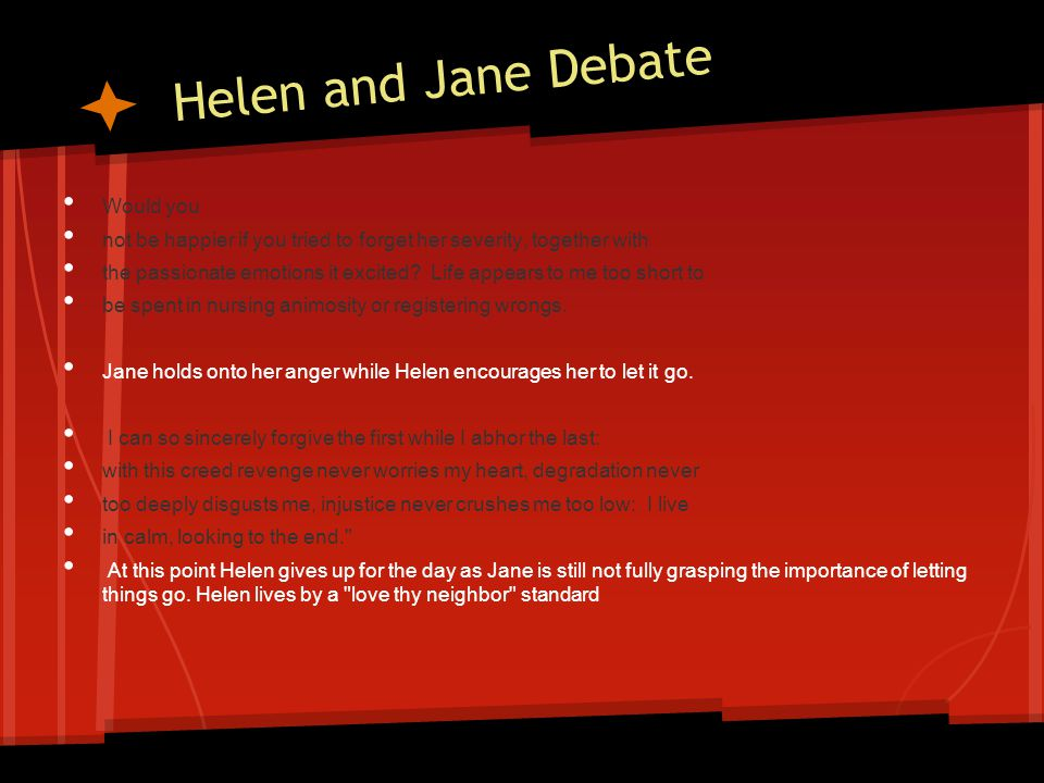 Helen and Jane Debate Would you not be happier if you tried to forget her severity, together with the passionate emotions it excited.