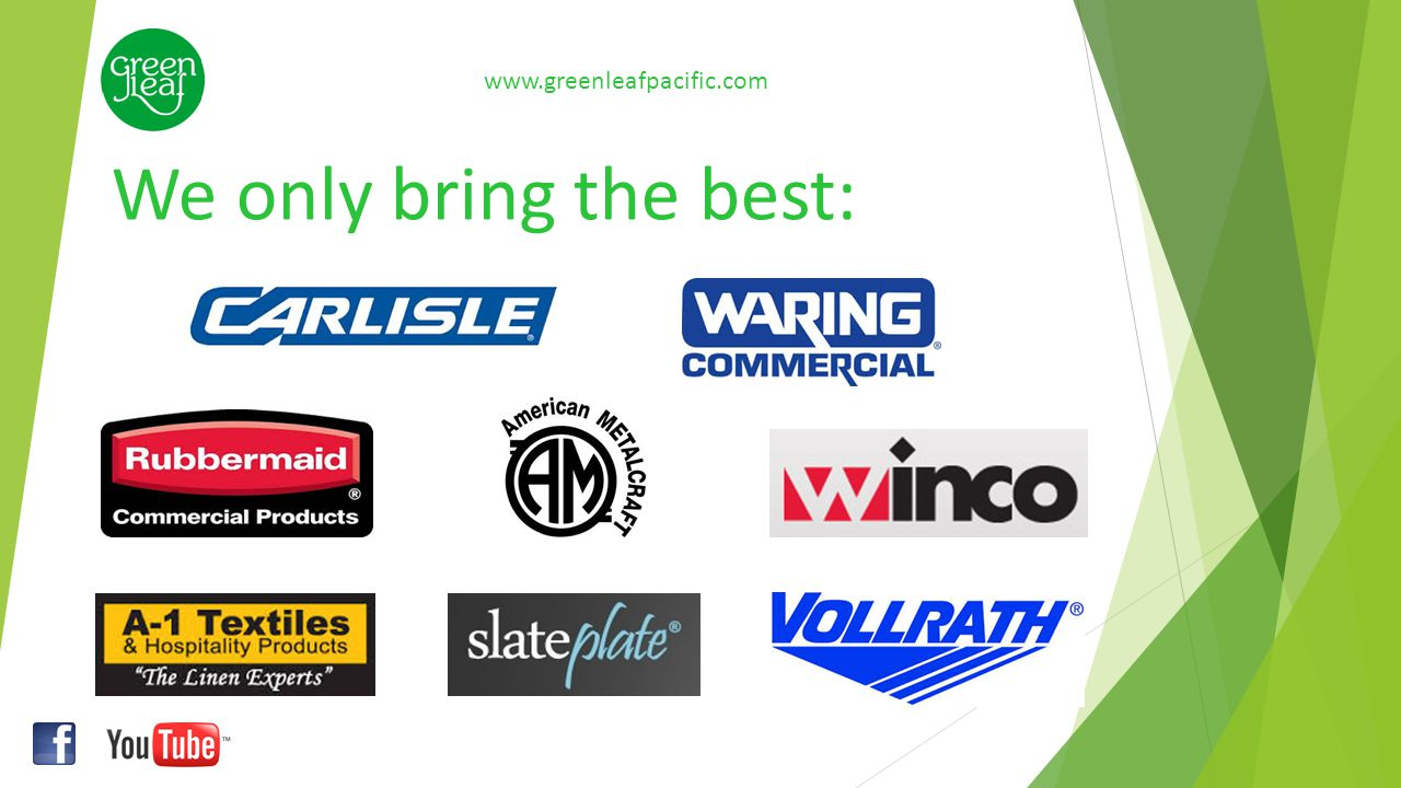 Cleaning & Maintenance: www.greenleafpacific.com Microfiber Mop Systems Wet Mop Systems Dust and Surface Cleaning Brooms and Brushes Janitorial and Cleaning Cart Systems Vacuum Cleaners Signs & Safety products Wash room products Green leaf proudly brings you: