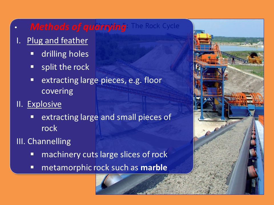 Chapter 5: The Rock Cycle Methods of quarrying I. Plug and feather  drilling holes  split the rock  extracting large pieces, e.g. floor covering II