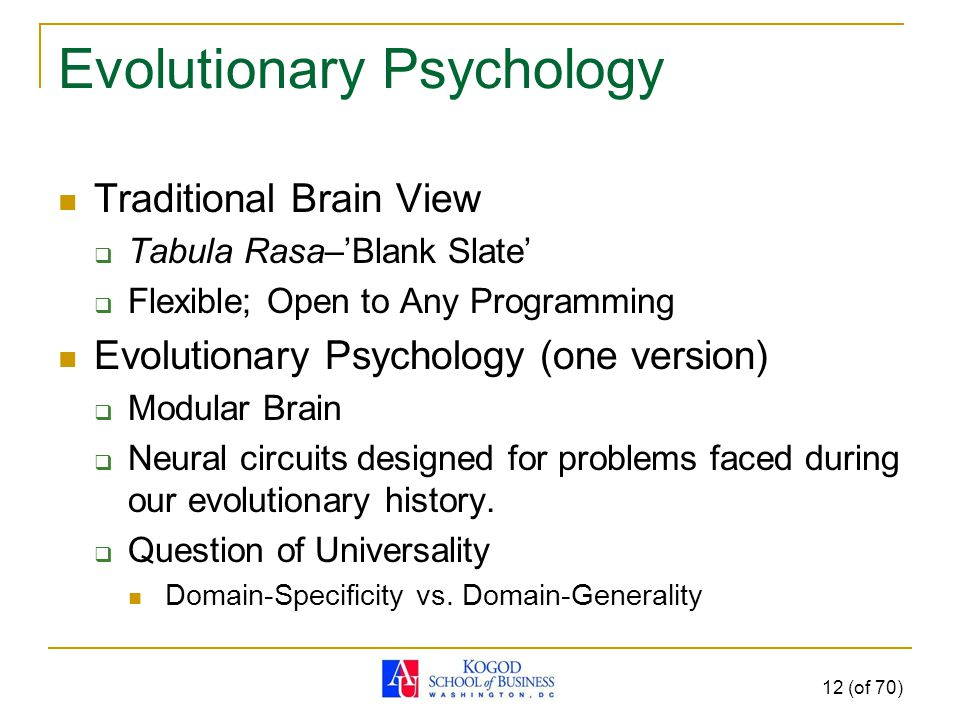 Evolutionary Psychology Traditional Brain View  Tabula Rasa–'Blank Slate'  Flexible; Open to Any Programming Evolutionary Psychology (one version)  Modular Brain  Neural circuits designed for problems faced during our evolutionary history.