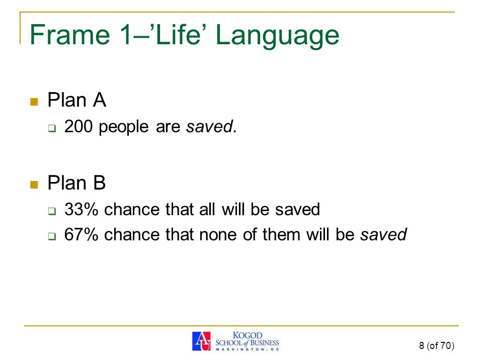 Frame 1–'Life' Language Plan A  200 people are saved.