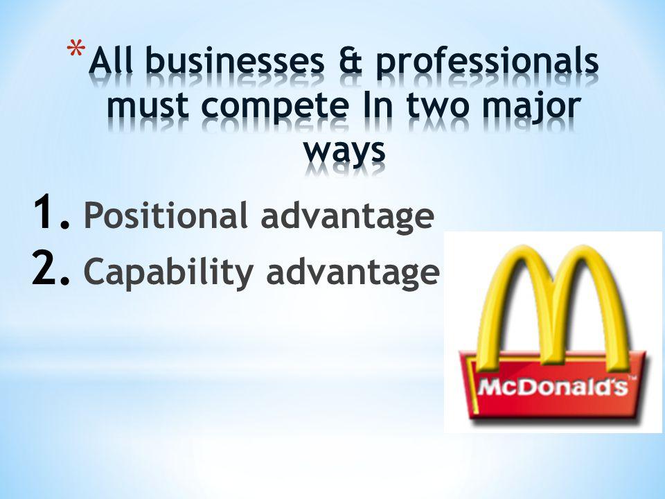 1. Positional advantage 2. Capability advantage