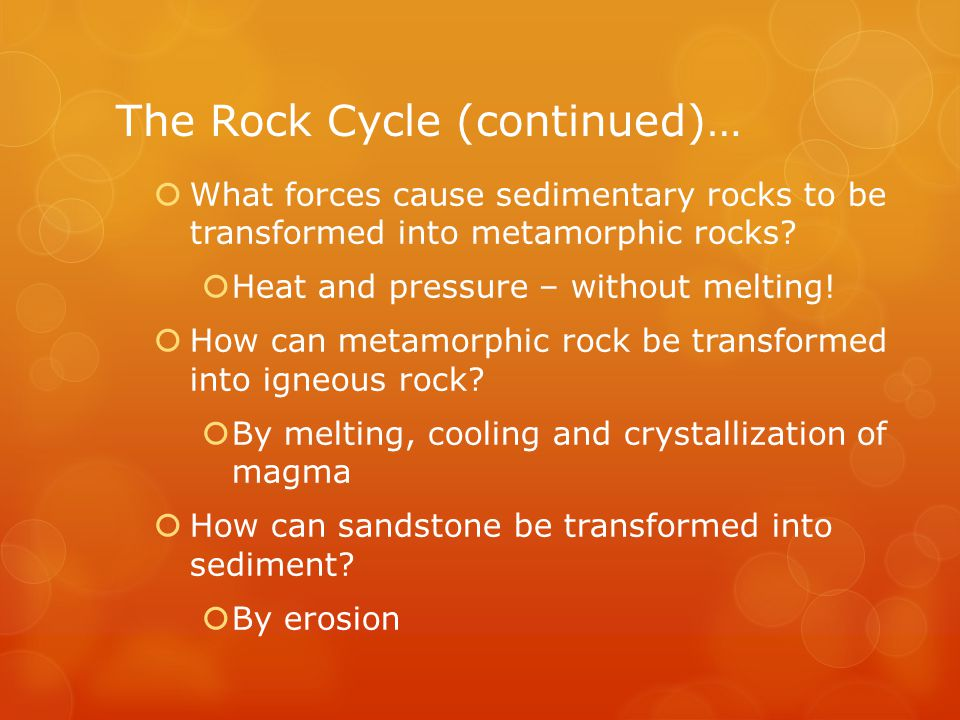 The Rock Cycle (continued)…  What forces cause sedimentary rocks to be transformed into metamorphic rocks.