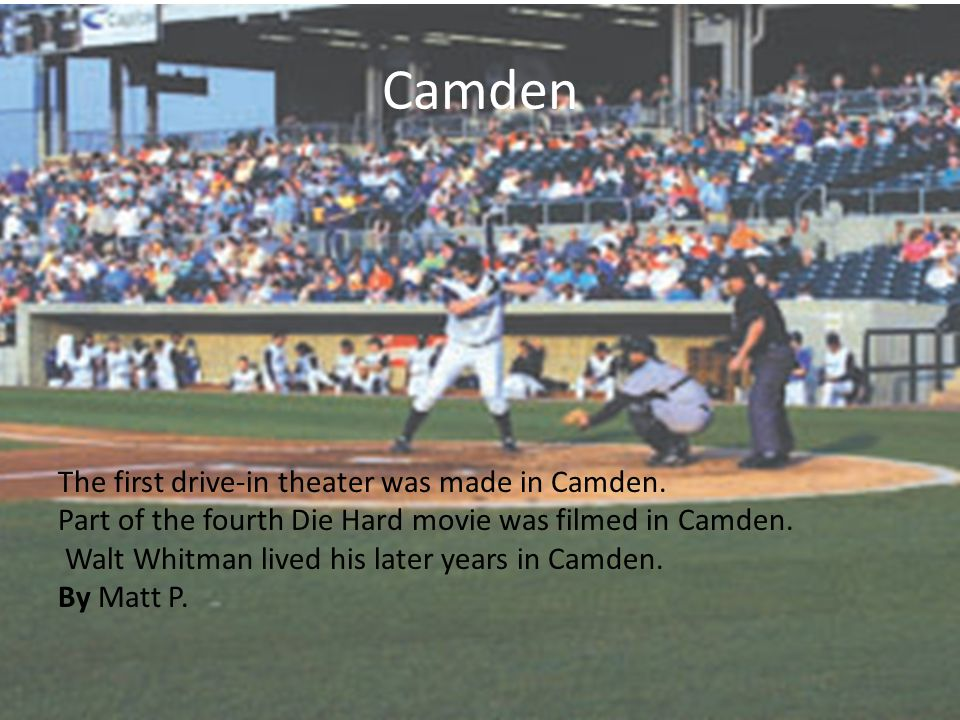 Camden Camden is located just across the Delaware River. Camden has a population of 79,904. It has been ranked one of the most dangerous cities in the