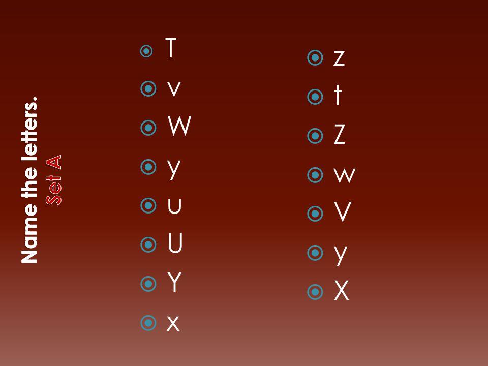 T T  v  W  y  u  U  Y  x  z  t  Z  w  V  y  X
