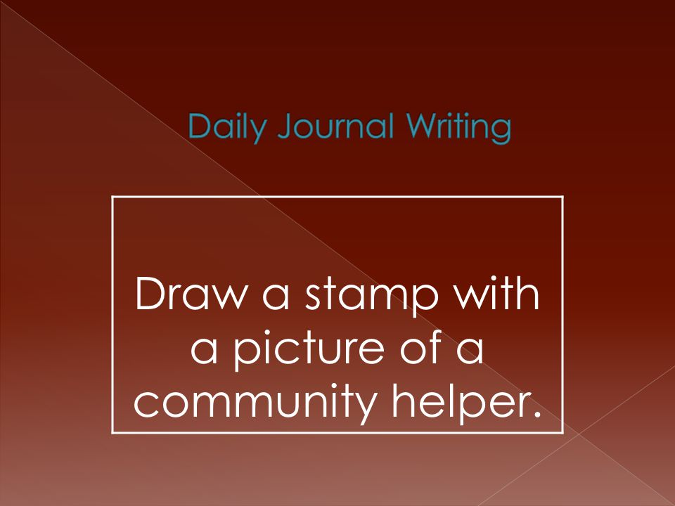 Draw a stamp with a picture of a community helper.