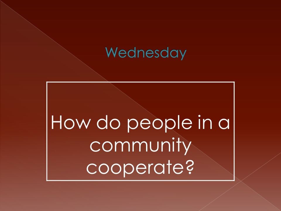 How do people in a community cooperate?